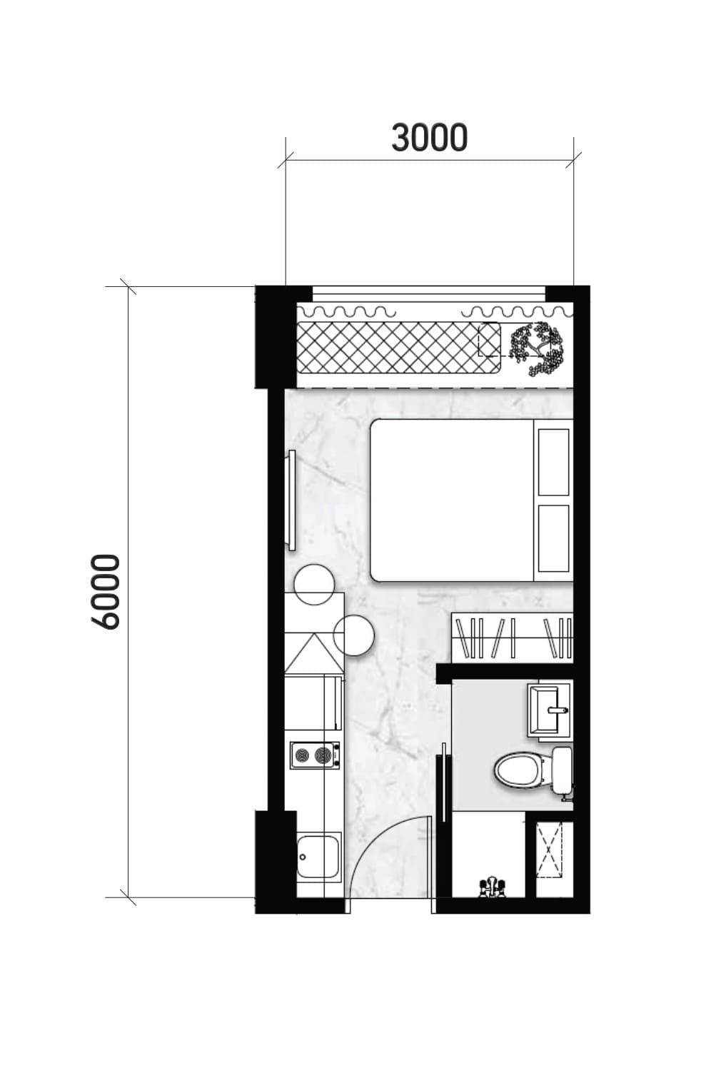 Tipe Studio Denah